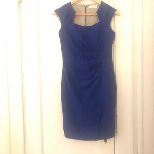 Calvin Klein royal blue rutched waist dress